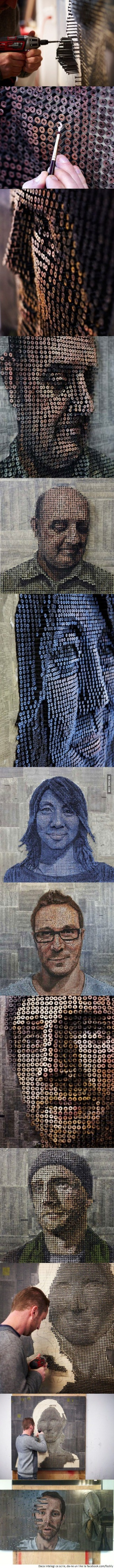 9GAG - Amazing 3D portraits made out of screws by Andrew Myers